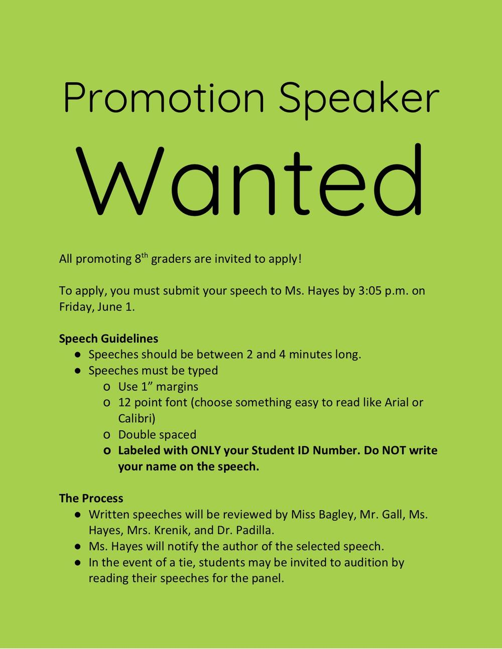 Promotion speech guidelines