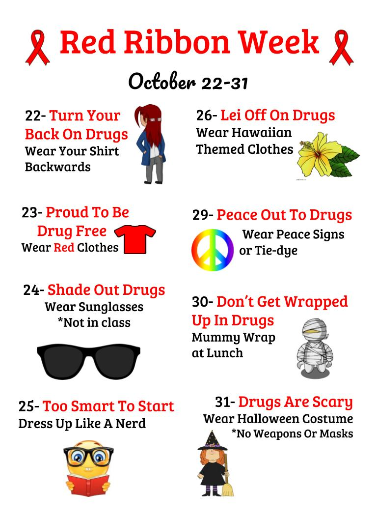 Red Ribbon Week Activity list