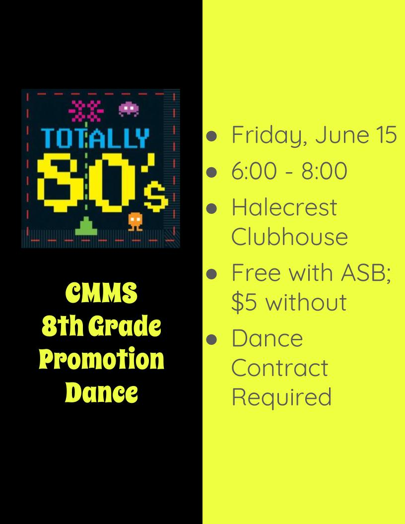 8th Grade Promotion Dance is June 15 @Halecrest