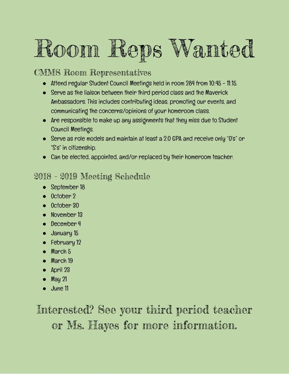 Room Reps Wanted  qualifications, duties, and meeting dates