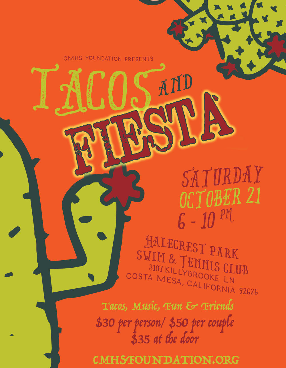 Tacos and Fiesta Foundation Event Flyer