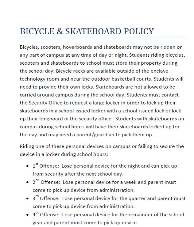 Bicycle and Skateboard Policy