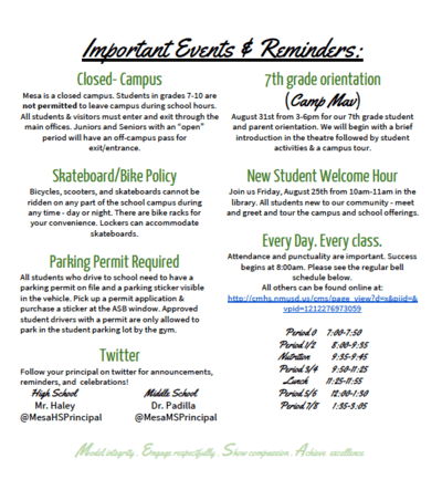 Welcome Back! Important Events and Reminders: